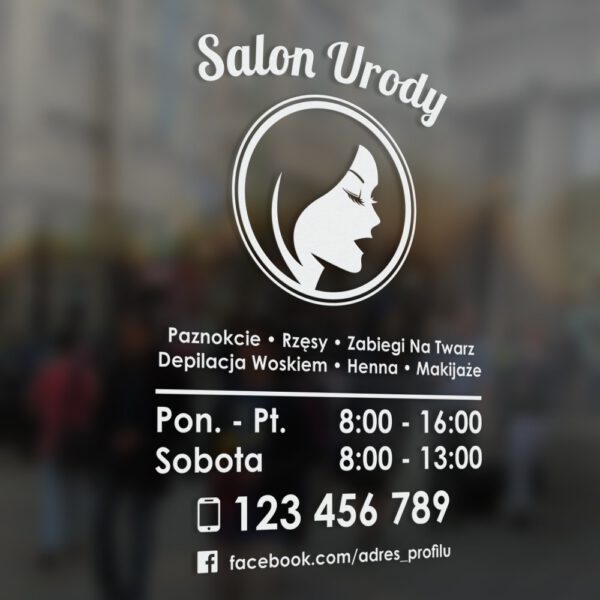 Naklejka z godzinami otwarcia na drzwi lokalu lub na witrynę. Salon Urody, Studio Urody, Gabinet Fryzjerski, Gabinet Kosmetologiczny.