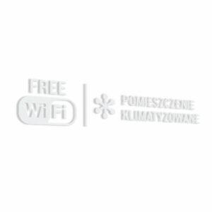Naklejka informacyjna Pomieszczenie Klimatyzowane, Free Wi-Fi.
