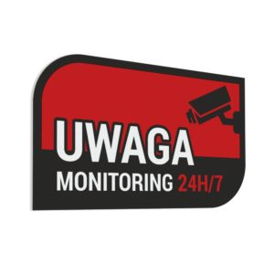Naklejka - Uwaga Monitoring 24h/7