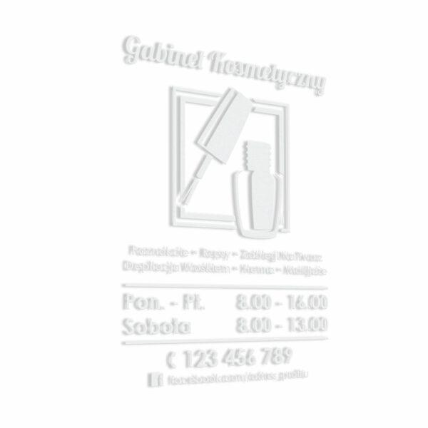 Naklejka na drzwi z godzinami otwarcia - Gabinet Kosmetyczny