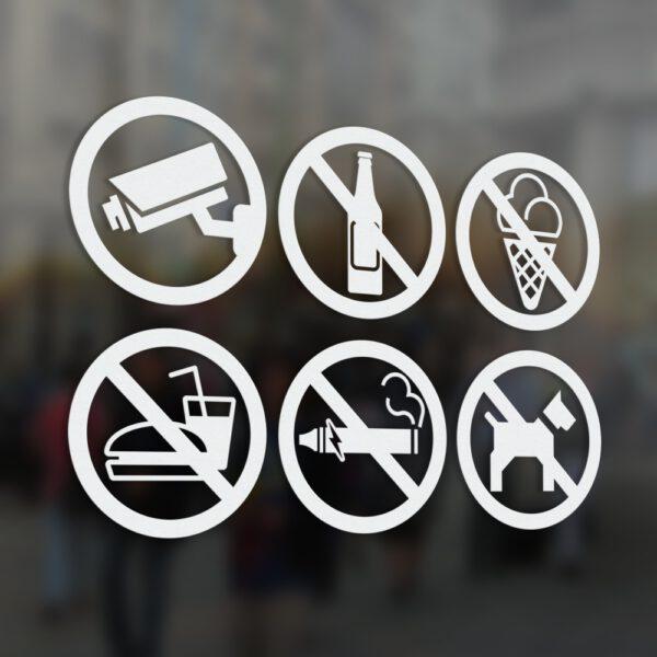 Naklejki informacyjne z zakazami. Zakaz spożywania alkoholu. Zakaz jedzenia i picia. Zakaz wchodzenia z lodami. Zakaz palenia wyrobów tytoniowych i palenia papierosów elektronicznych. Zakaz wprowadzania psów. Obiekt Monitorowany.