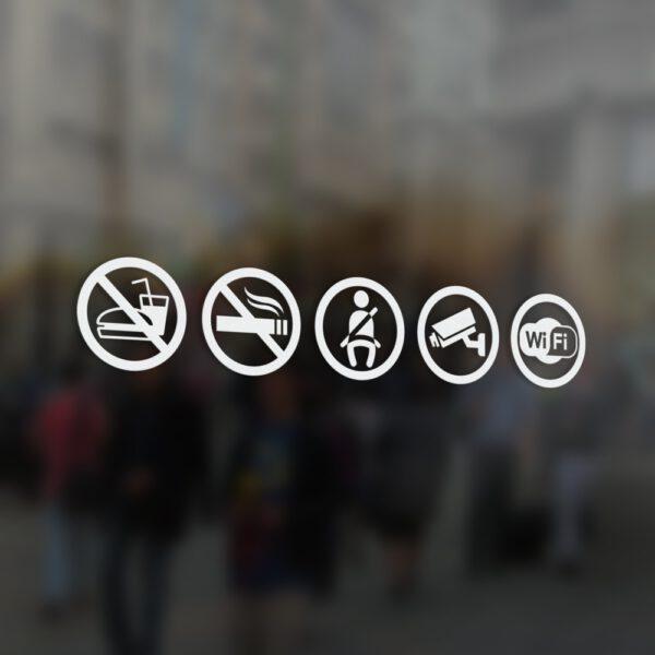 Naklejki informacyjne na samochód: monitoring, rejestracja obrazu, zapnij pasy, zakaz palenia, zakaz jedzenia i picia, Wi-Fi.