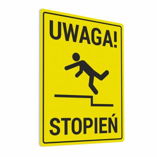 Naklejka ostrzegawcza Uwaga Stopień. Naklejka BHP.