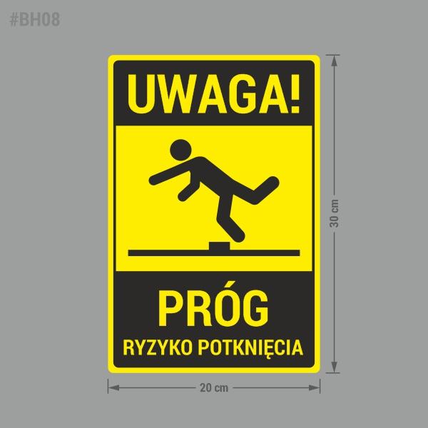 Naklejka ostrzegawcza Uwaga Próg, Ryzyko Potknięcia. Naklejka BHP.