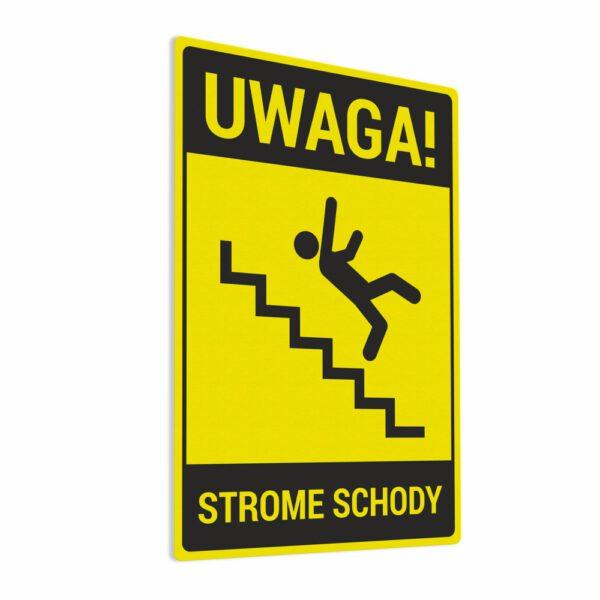 Naklejka ostrzegawcza Uwaga Strome Schody. Naklejka BHP.