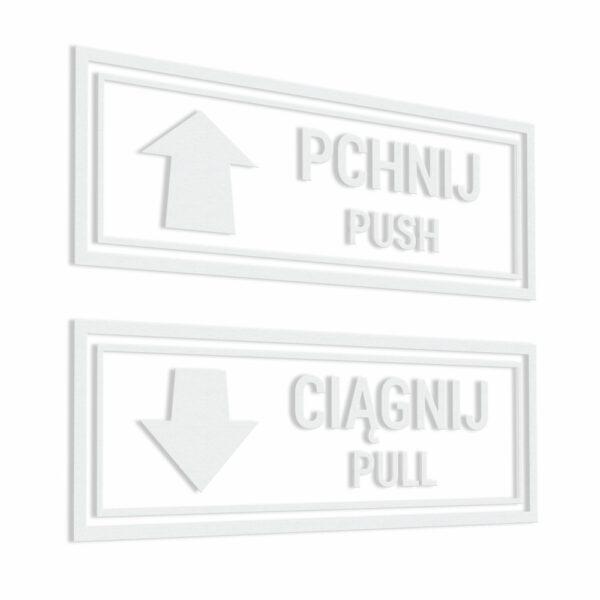Naklejka prostokątna na drzwi Pchnij, Ciągnij, Push, Pull, Pchać, Ciągnąć ze strzałką.
