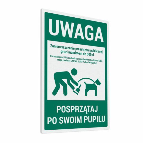 Naklejka Posprzątaj Po Swoim Pupilu - zanieczyszczanie przestrzeni publicznej grozi mandatem do 500zł.