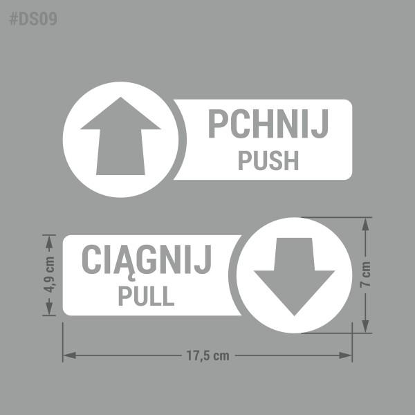 Naklejka informacyjna ze strzałką na drzwi: Pchnij Ciągnij, Pchać Ciągnąć, Push Pull.