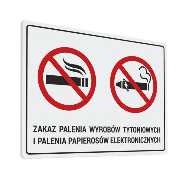 Naklejka Zakaz Palenia wyrobów tytoniowych i palenia papierosów elektronicznych.