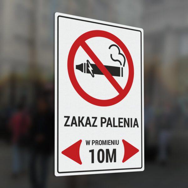 Naklejka Zakaz Palenia w promieniu 10 metrów.