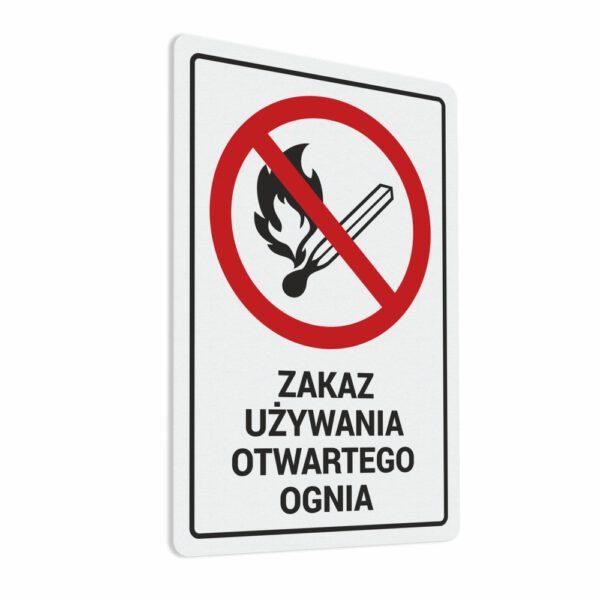 Naklejka Zakaz Używania Otwartego Ognia. Naklejka BHP.