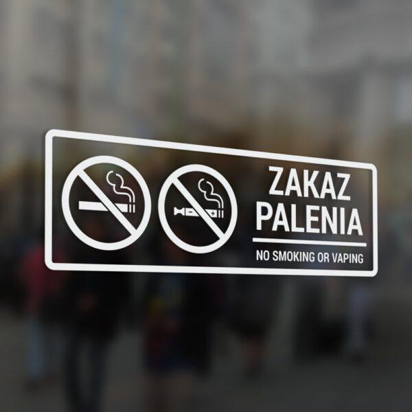 Naklejka Zakaz Palenia, No Smoking or Vaping.