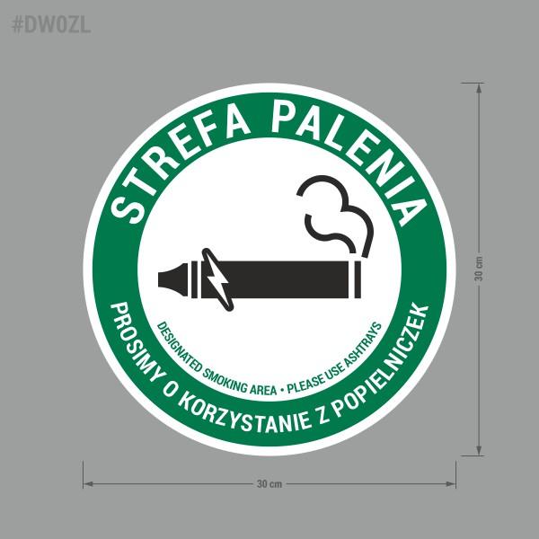 Naklejka Strefa Palenia, Tu Wolno Palić, Prosimy Korzystać z Popielniczek. Sticker Designated Smoking Area, Please Use Ashtrays.