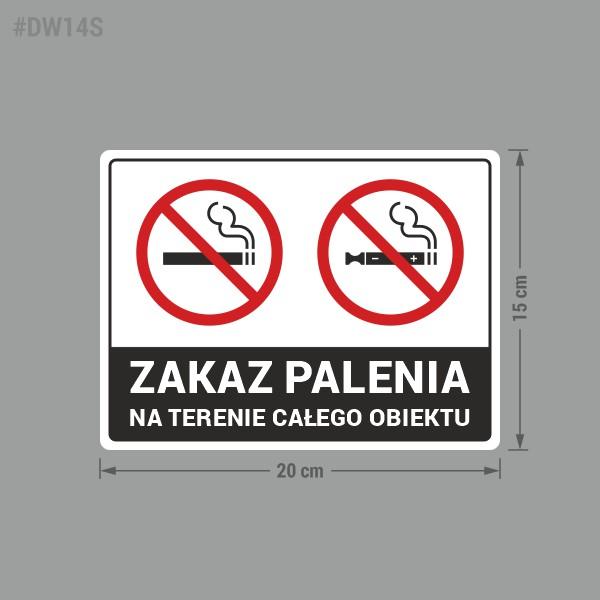 Naklejka Zakaz Palenia na terenie całego obiektu.