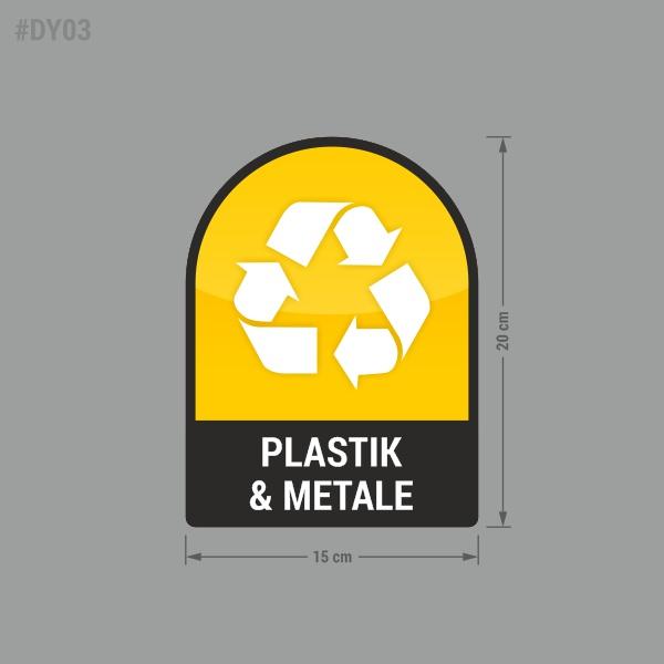Naklejka na kosz lub pojemnik na odpady: Plastik i Metale.