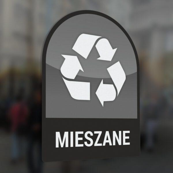 Naklejka na kosz lub pojemnik na odpady: Odpady Mieszane.