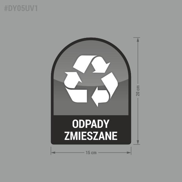 Naklejka na kosz lub pojemnik na odpady: Odpady Zmieszane.