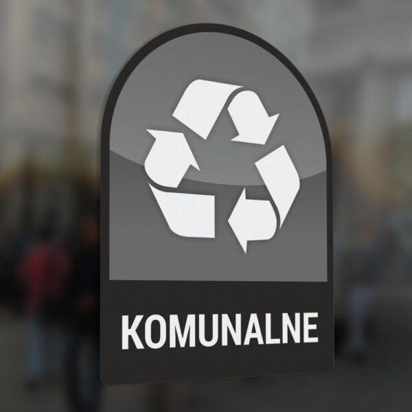 Naklejka na kosz lub pojemnik na odpady: Odpady Komunalne.