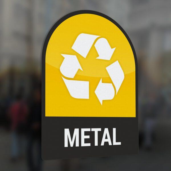 Naklejka na kosz lub pojemnik na odpady: Metal.