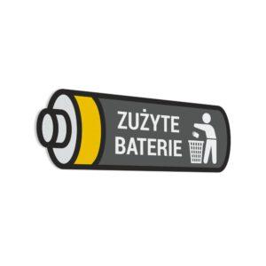 Naklejka na kosz lub pojemnik na odpady: Zużyte Baterie.