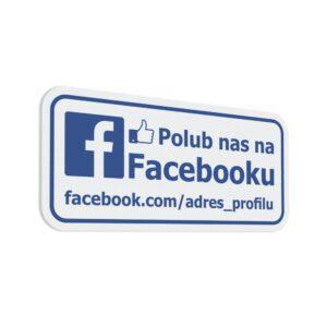 Naklejka informacyjna społecznościowa z linkiem do profilu lub nazwą profilu: Polub nas na Facebook.