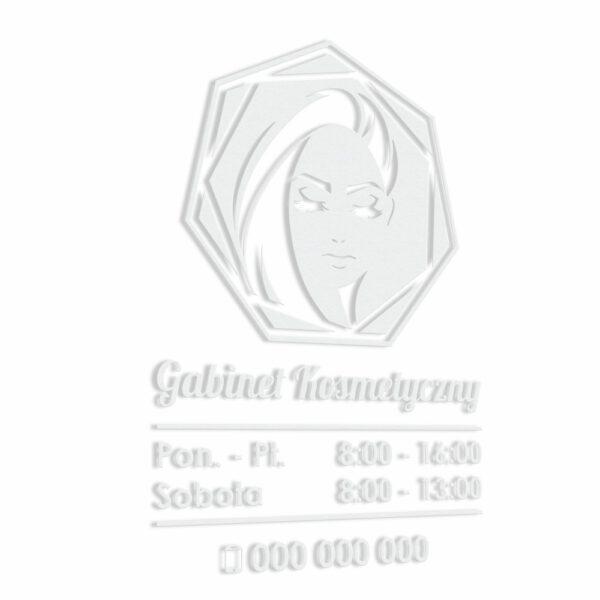 Naklejka z godzinami otwarcia na drzwi lokalu lub na witrynę. Gabinet Kosmetyczny, Salon Fryzjerski, Salon Urody, Studio Urody, Gabinet Fryzjerski, Gabinet Kosmetologiczny.