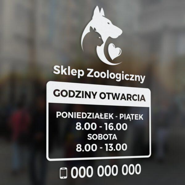 Naklejka z godzinami otwarcia na drzwi lokalu, sklepu lub na witrynę. Godziny Otwarcia Sklep Zoologiczny.