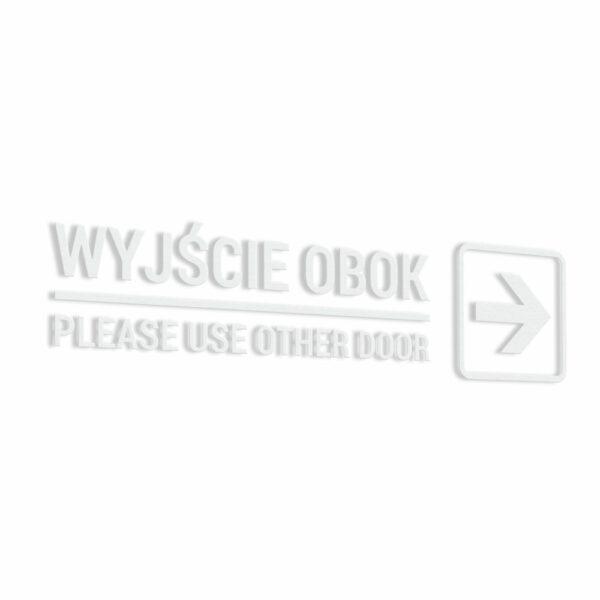 Naklejka informacyjna ze strzałką Wejście Obok. Please Use Other Door.
