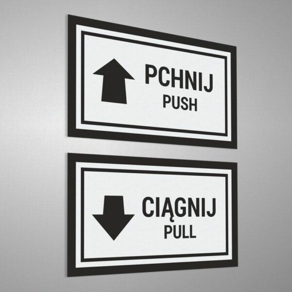 Naklejka informacyjna na drzwi Pchnij - Ciągnij, Pchać - Ciągnąć, Push - Pull.