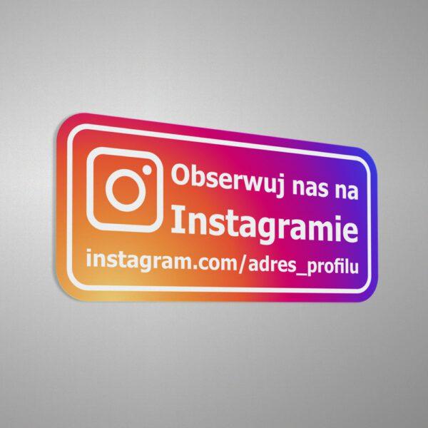 Naklejka informacyjna reklamowa społecznościowa z adresem profilu na instagramie: Obserwuj nas na Instagramie.