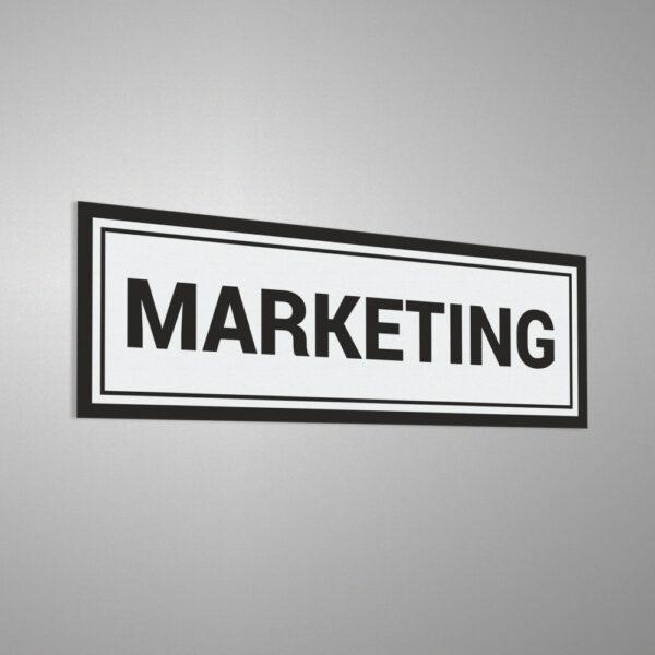 Naklejka informacyjna na drzwi: Marketing.