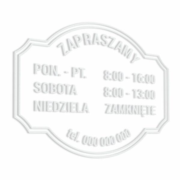 Naklejka informacyjna na drzwi lub witrynę z godzinami otwarcia. Godziny Otwarcia Salonu, Sklepu, Studia, Biura, Firmy, Zakładu itp.