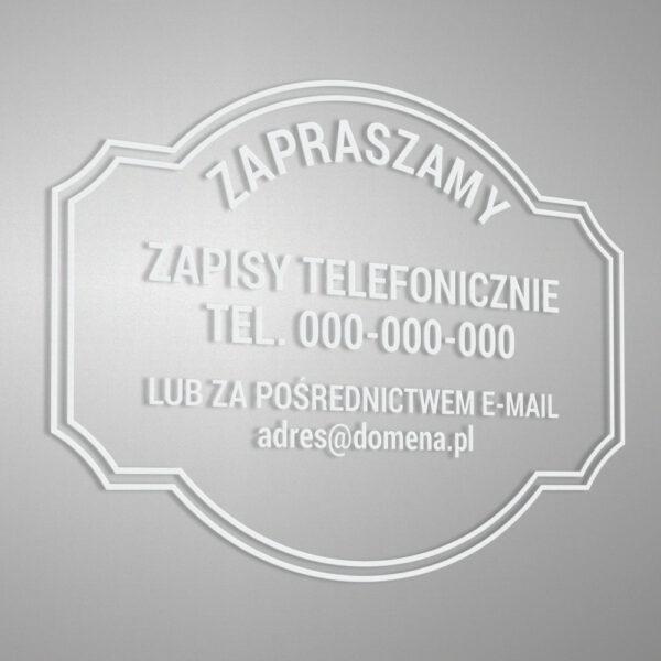 Naklejka na drzwi lub witrynę: Zapisy telefonicznie lub za pośrednictwem e-mail.