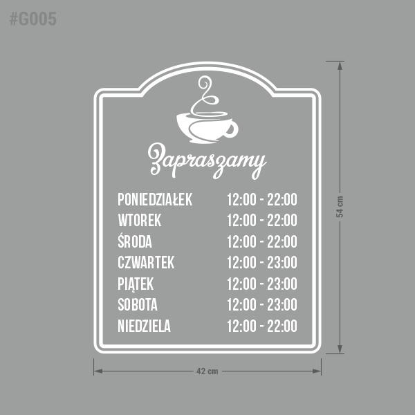 Naklejka z godzinami otwarcia na drzwi lub witrynę. Godziny otwarcia. Restauracja, Pub, Biuro, Lokal, Zakład, Studio.