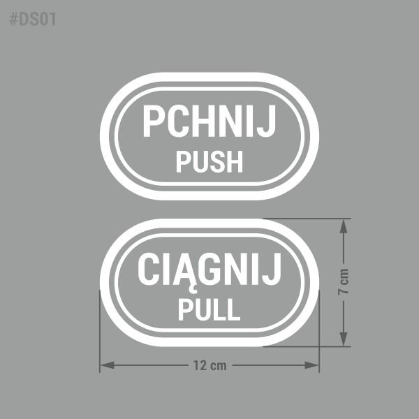 """Naklejka wycinana z folii """"Pchnij - Ciągnij"""" """"Push - Pull""""."""