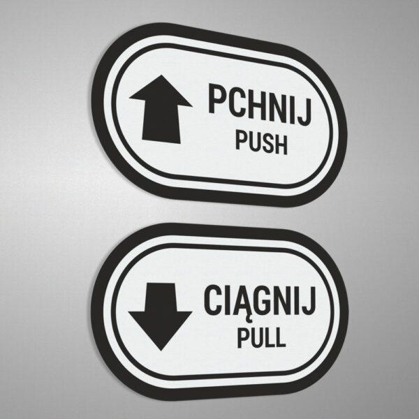 """Naklejki na drzwi ze strzałką """"Pchnij - Ciągnij"""", """"Push - Pull""""."""