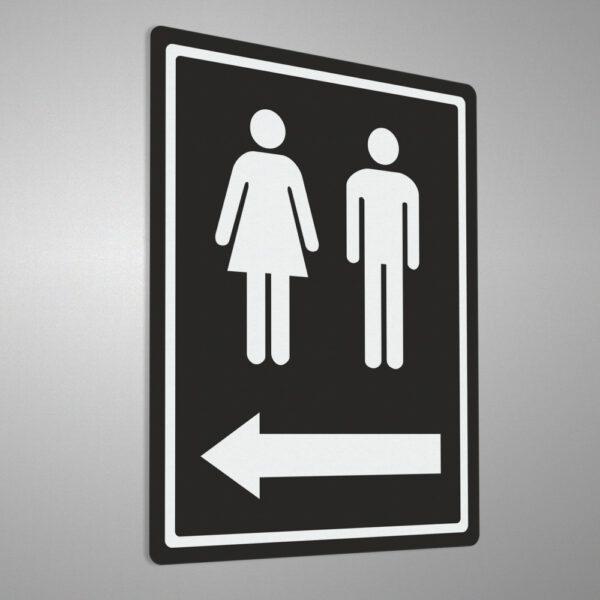 """Naklejka """"Toaleta"""" ze strzałką."""