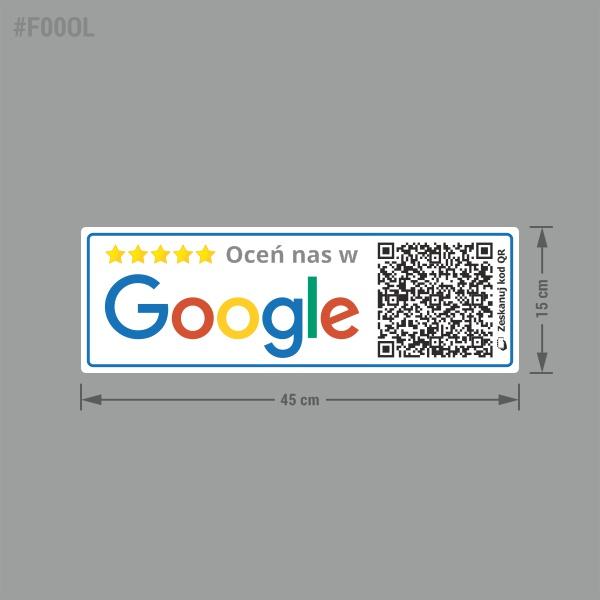 Naklejki informacyjne społecznościowe Oceń nas w Google z kodem QR do oceny / recenzji.