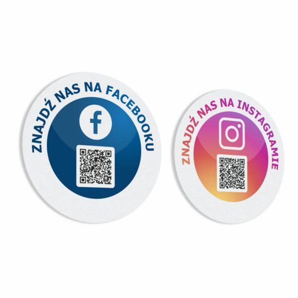 Naklejki społecznościowe informacyjne z kodem QR Facebook, Instagram.