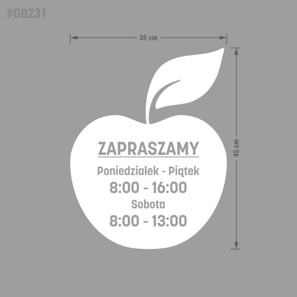 Naklejka z godzinami otwarcia. Godziny Otwarcia. Warzywniak. Jabłko. Owoce. Sklep.