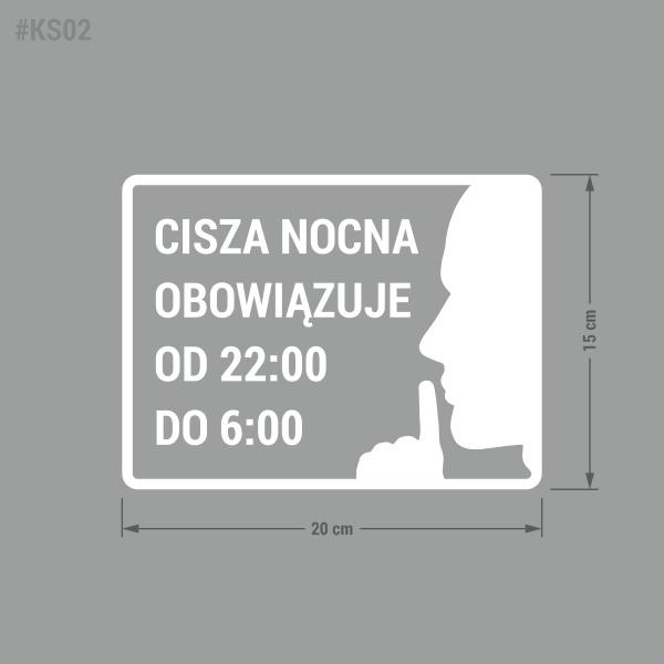 """Naklejka """"Cisza Nocna Obowiązuje od 22:00 do 6:00"""""""