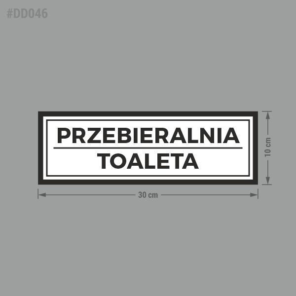 """Naklejka informacyjna na drzwi z napisem """"Przebieralnia, Toaleta""""."""