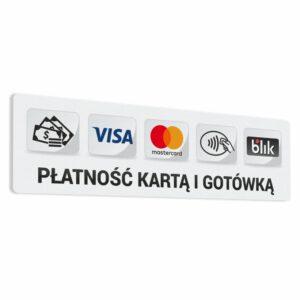"""Naklejka """"Płatność Kartą i Gotówką"""", gotówka, Visa, Mastercard, płatności zbliżeniowe, blik."""